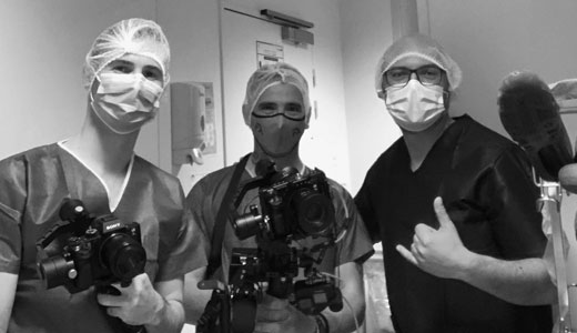 Photos tournage clinique Arcachon - Lucas GORRY - Christian Collin- tournage réalisation vidéo - OSYRIS - agence de communication bordeaux